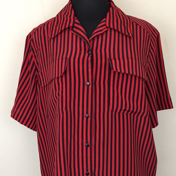 3cdff358 Tops | Womens Red Striped Button Down Shirt | Poshmark